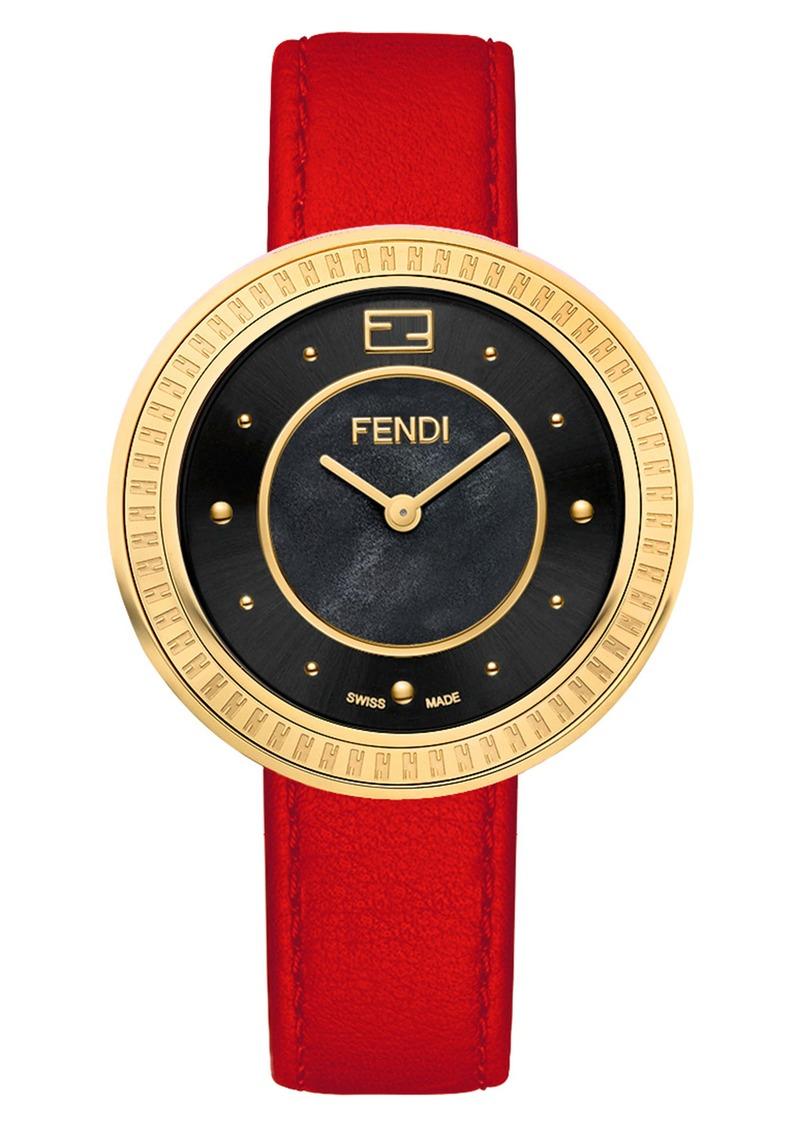 Fendi My Way Leather Strap Watch, 36mm