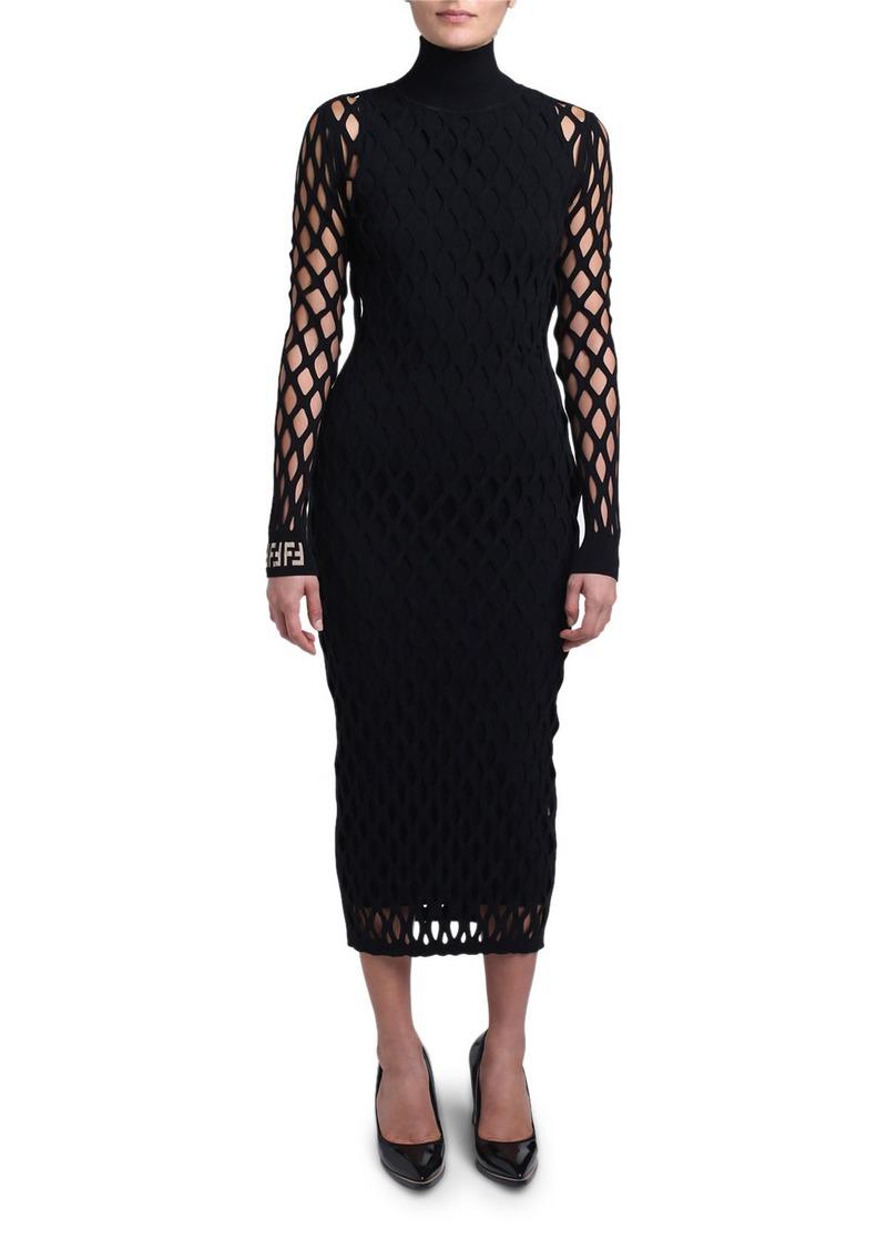 Fendi Open-Knit Long-Sleeve Bodycon Dress