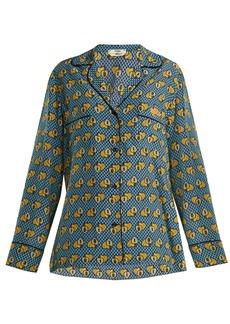 Fendi Open Your Heart silk blouse
