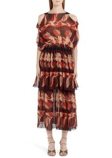 Fendi Parakeet Print Cold Shoulder Silk Dress