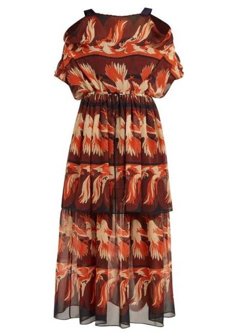 Fendi Parakeet-print georgette dress