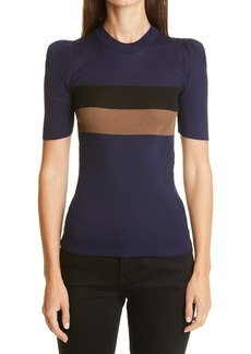 Fendi Pequin Stripe Rib Silk Sweater