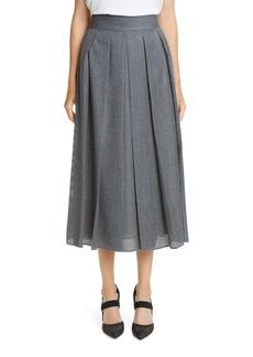 Fendi Perforated Pleated Wool Skirt