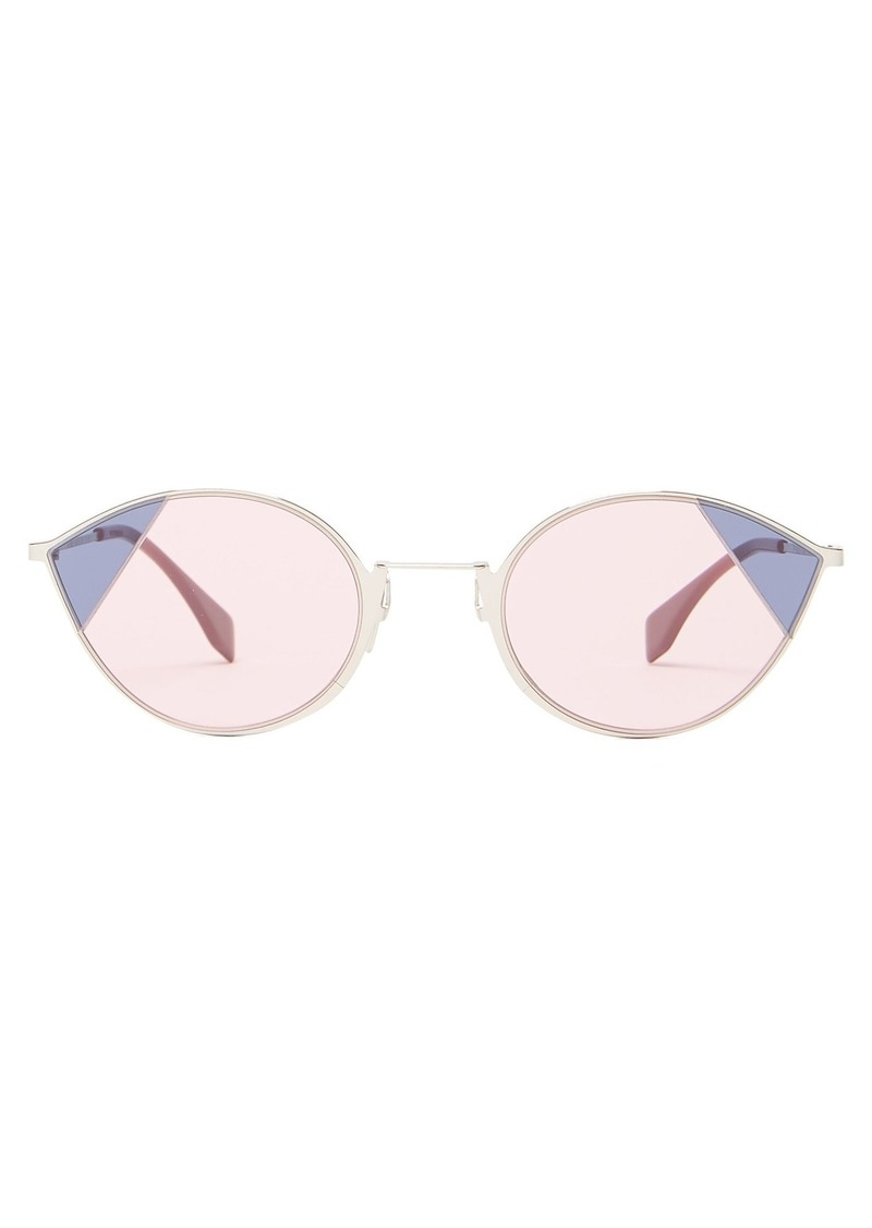 Fendi Pink-tinted silver-tone cat-eye sunglasses