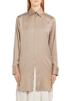 Fendi Pinstripe Longline Silk Shirt