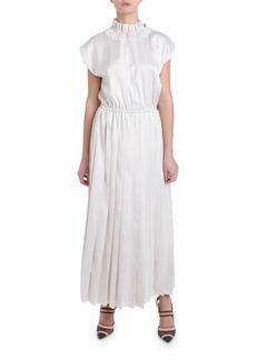 Fendi Pinstriped Toggle-Neck Pinstriped Dress