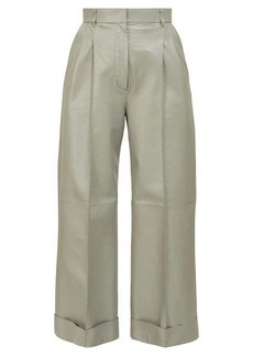 Fendi Pintucked wide-leg leather trousers