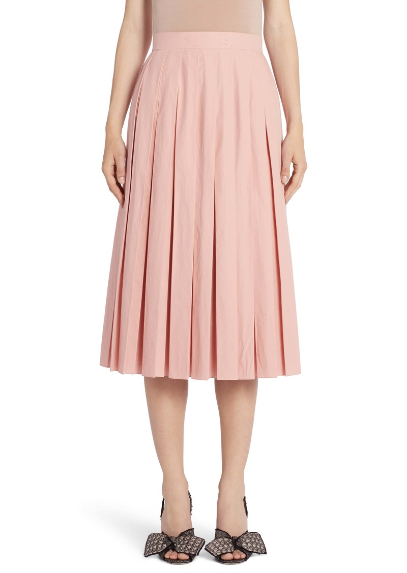 Fendi Pleated Cotton Taffeta Midi Skirt