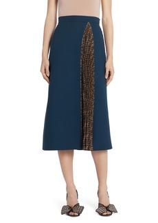 Fendi Pleated FF Inset Wool Crepe A-Line Midi Skirt