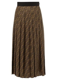 Fendi Pleated FF-print silk-satin midi skirt