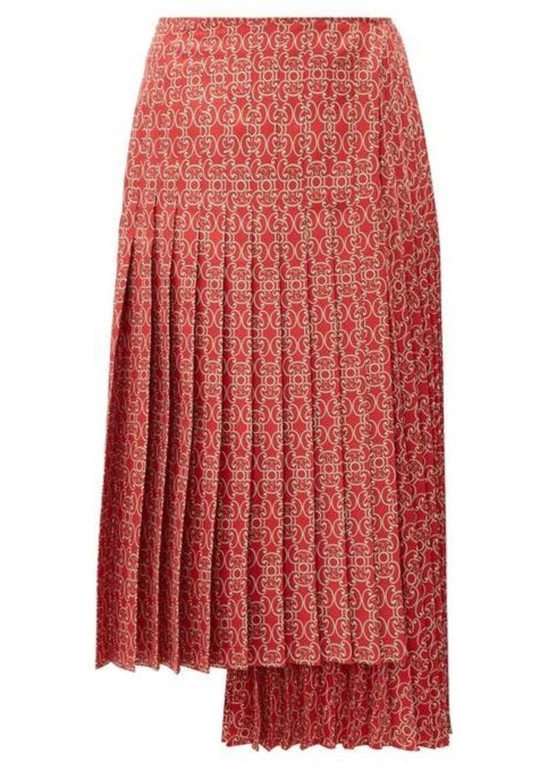 Fendi Pleated gate-print silk-twill skirt