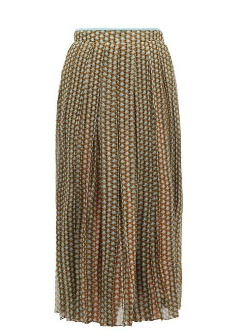 Fendi Pleated Karligraphy-print silk-chiffon skirt