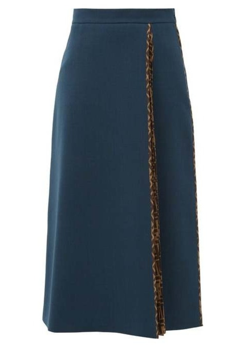 Fendi Pleated logo-print wool-crepe midi skirt