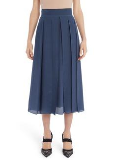 Fendi Pleated Microdot Print Silk Crêpe de Chine Midi Skirt