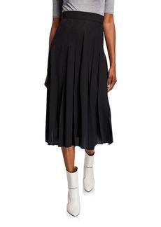 Fendi Pleated Silk Asymmetric Skirt