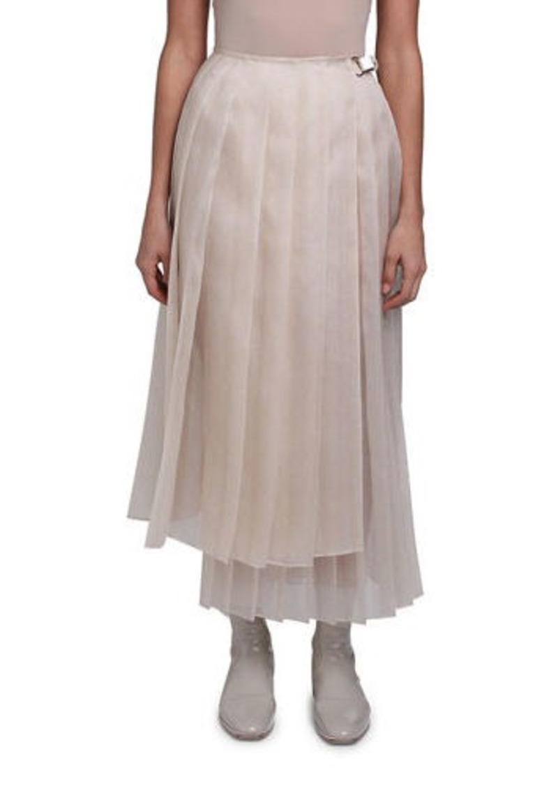 Fendi Pleated Silk Feather Organza Maxi Skirt