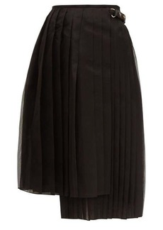 Fendi Pleated silk-organza midi skirt