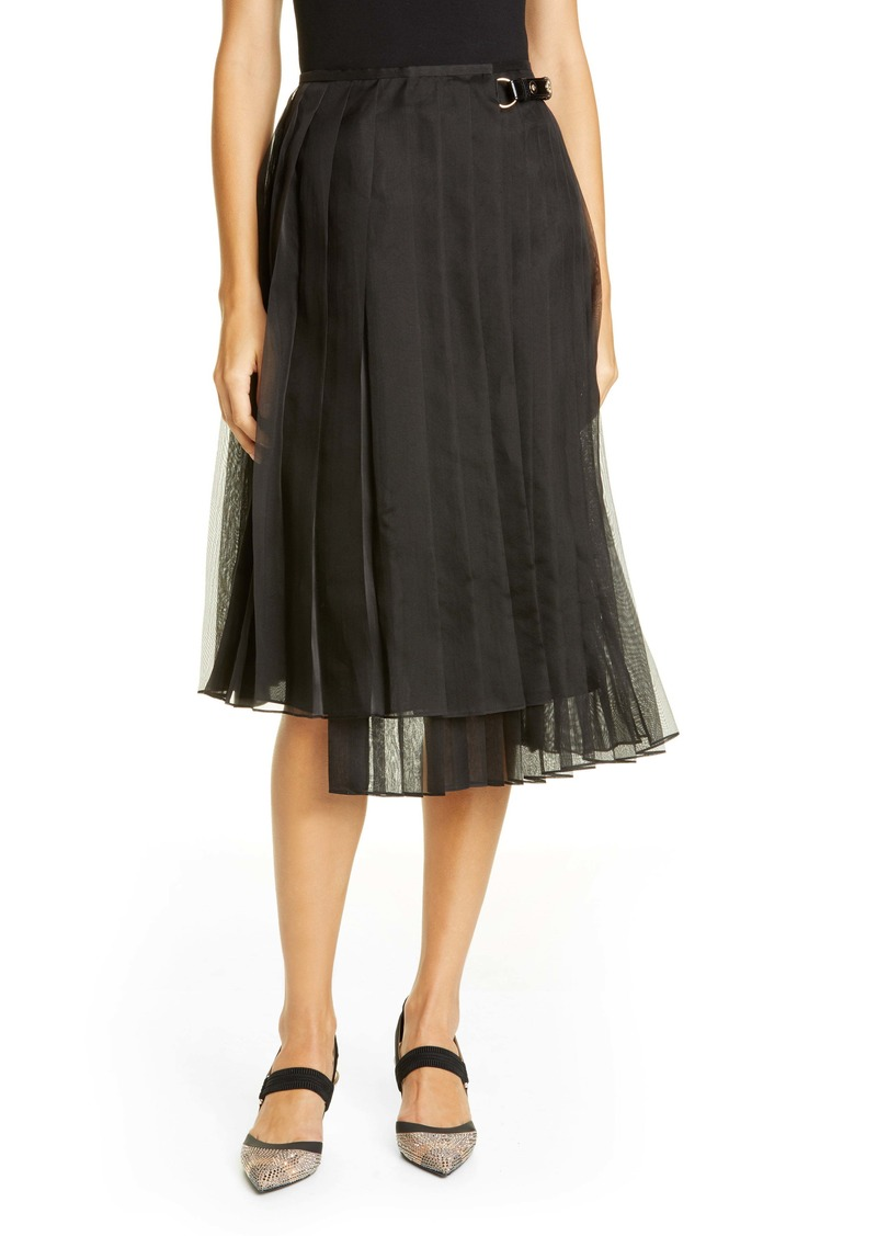 Fendi Pleated Silk Organza Wrap Skirt