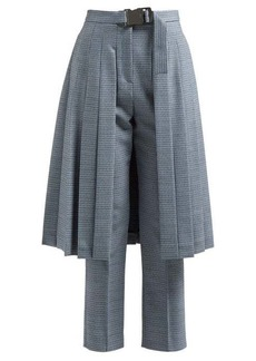 Fendi Pleated skirt-panel wool-blend tweed trousers