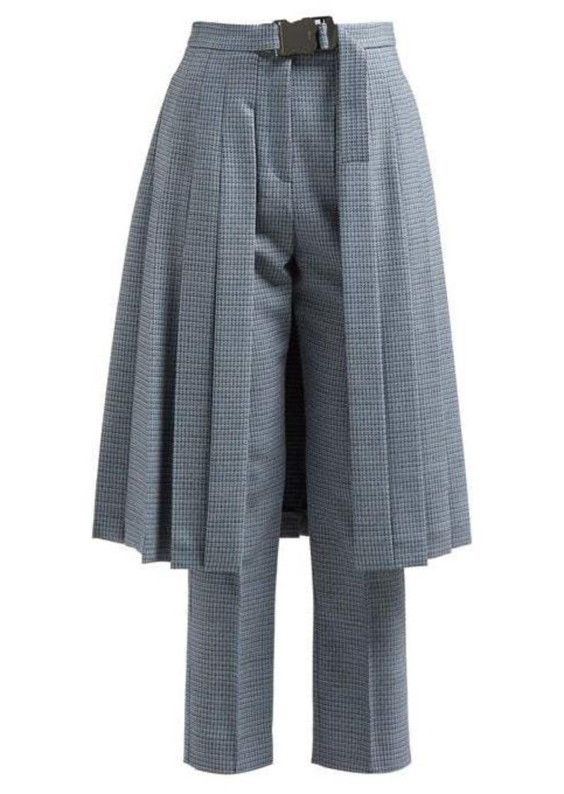 Fendi Pleated skirt-panel wool-blend tweed trousers