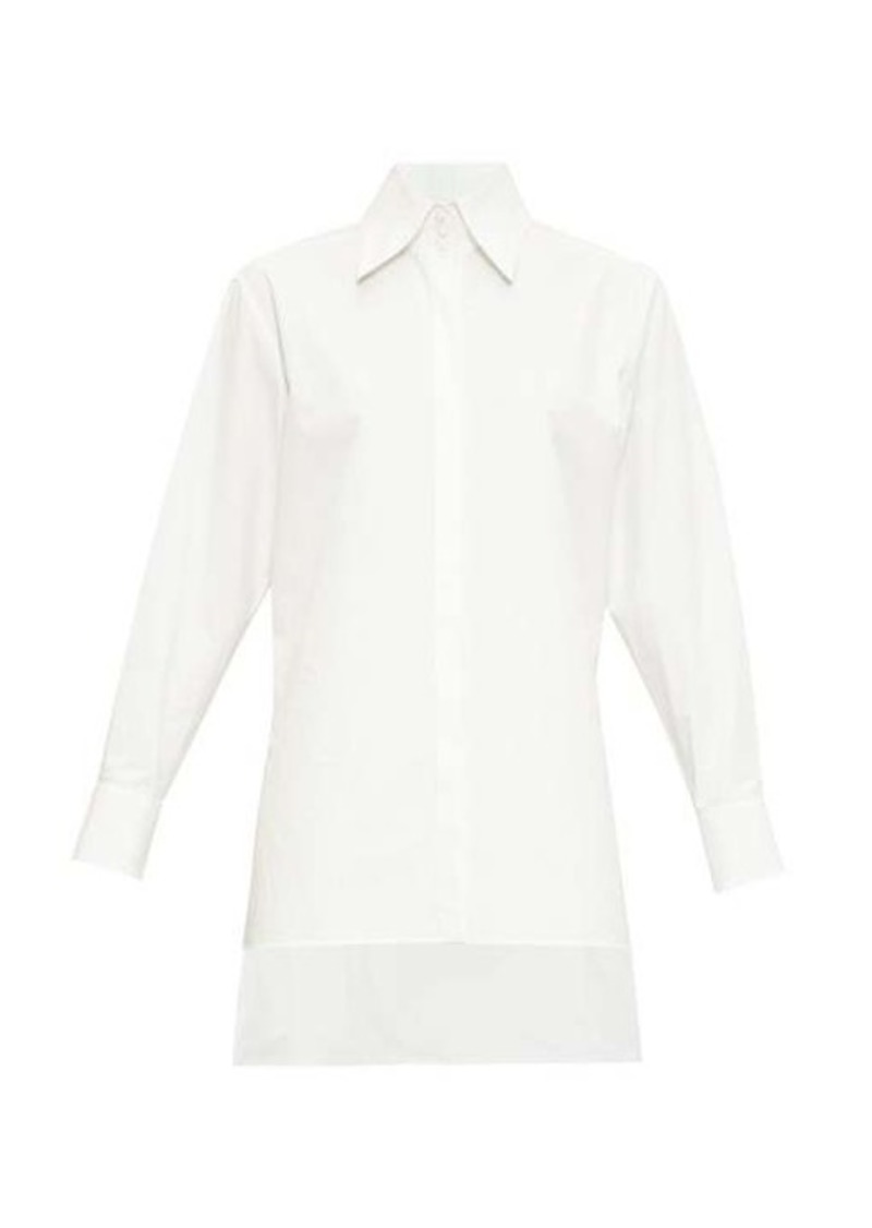 Fendi Logo-embroidered step-hem cotton shirt