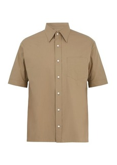 Fendi Point-collar short-sleeved cotton-poplin shirt