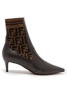Fendi Point-toe leather sock boots