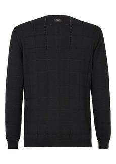 Fendi Pointelle Grid Wool Crewneck Sweater