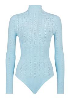 Fendi Pointelle Logo Long Sleeve Bodysuit