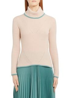 Fendi Pointelle Stitch Cashmere Rib Sweater