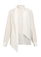 Fendi Polka dot-print tie-neck silk blouse