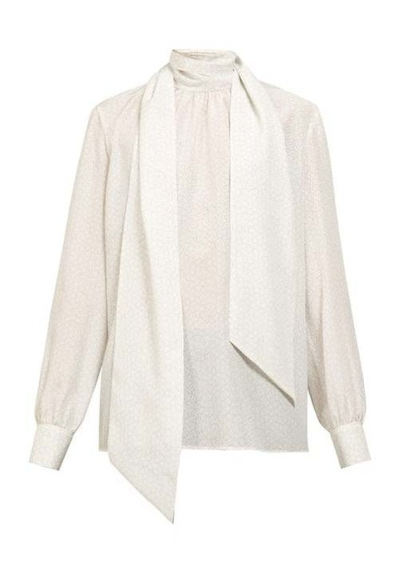 Fendi Polka dot-print tie-neck silk blouse