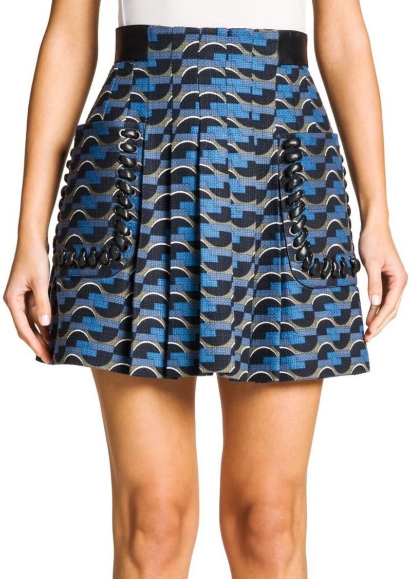 Fendi Printed Leather-Trim Canvas Skirt