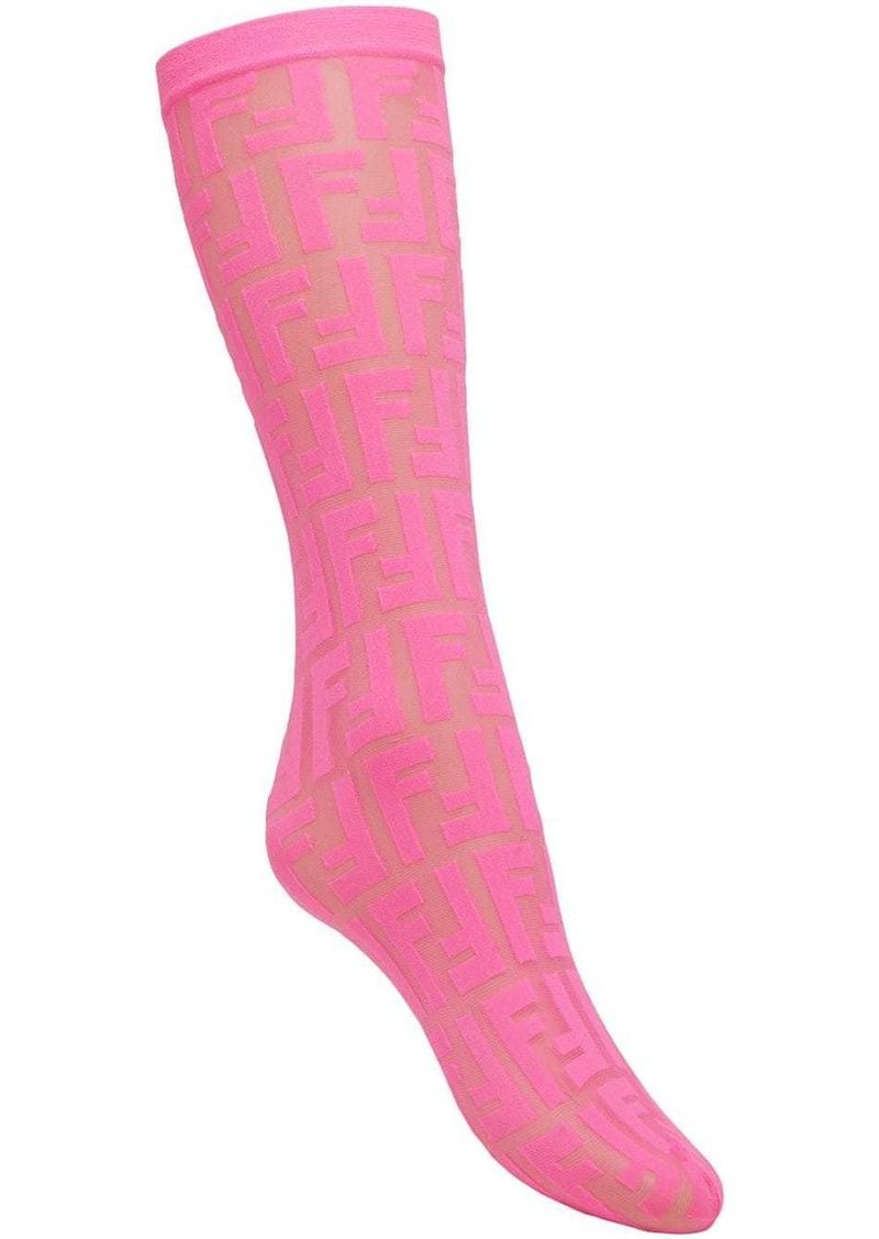Fendi Prints On monogram socks