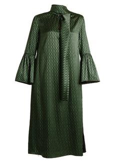 Fendi Puzzle-print tie-neck satin dress