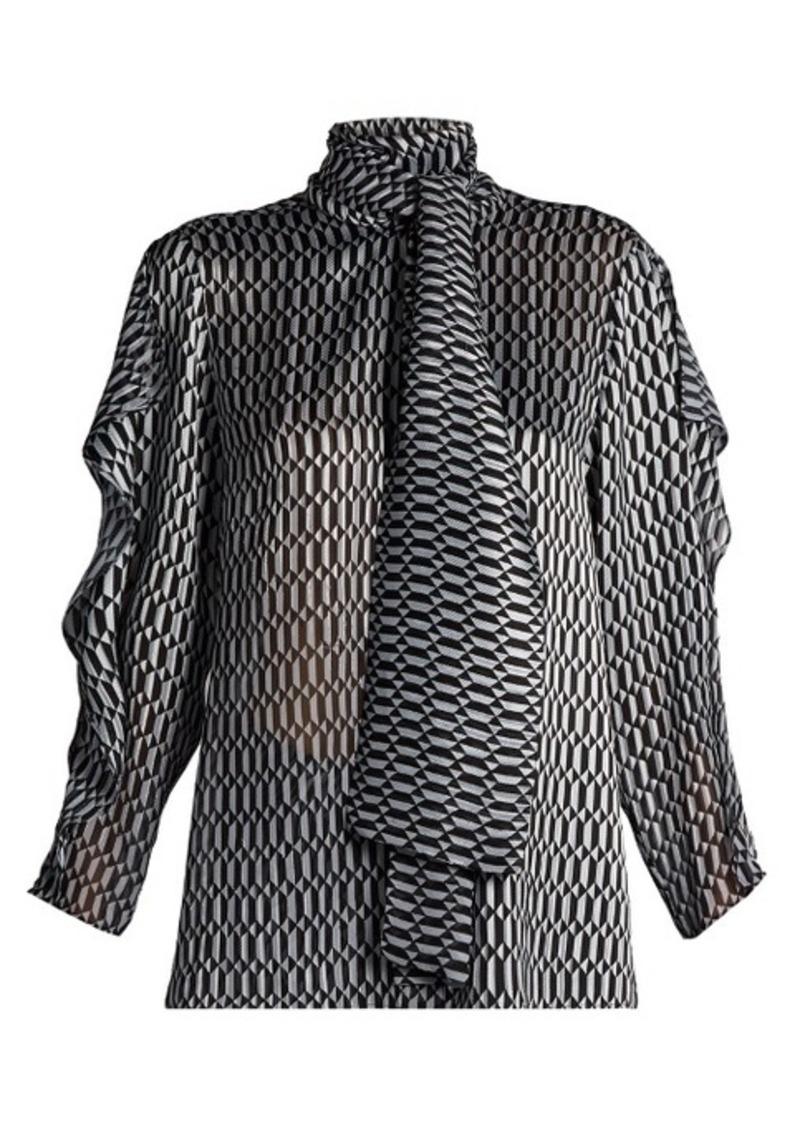 49142ea0e98385 Fendi Fendi Puzzle-print tie-neck silk-blend blouse