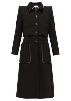 Fendi PVC-trim single-breasted wool-twill coat