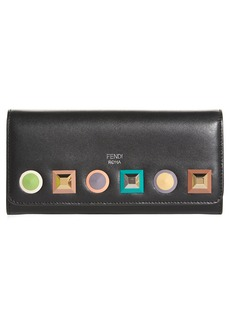 Fendi Rainbow Stud Calfskin Leather Wallet on a Chain
