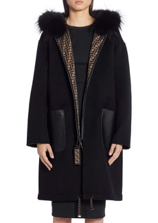 Fendi Reversible FF Logo Wool & Silk Coat with Genuine Fox Fur Trim
