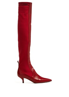 Fendi Rockoko leather and ribbed-knit boots