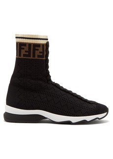 Fendi Rockoko logo-knit high-top sock trainers