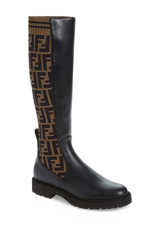 Fendi Rockoko Logo Sock Knee High Boot (Women)