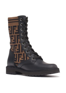 Fendi Rockoko Logo Sock Lace-Up Combat Boot (Women)