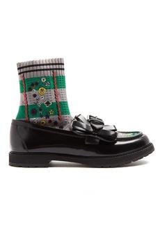 Fendi Rockoko sock-lined leather loafers