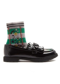Fendi Rockoko sock-lined leather loafers