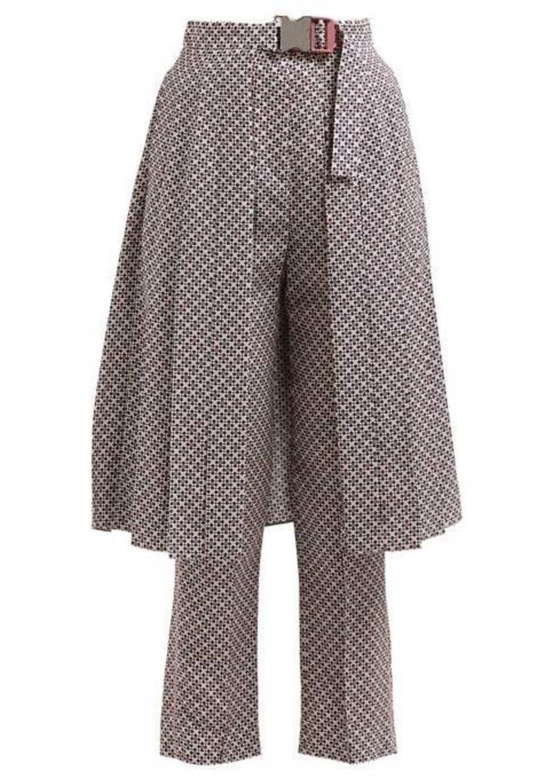 Fendi Romantic Tiles-print silk-crepe trousers