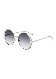Fendi Round Crystal-Trim Metal Sunglasses