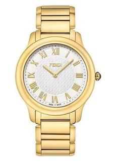 Fendi Round Golden Stainless Steel Classico Bracelet Watch