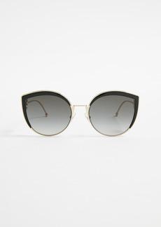 Fendi Round Slight Cat Eye Sunglasses