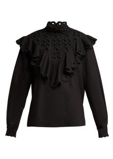 Fendi Ruffle broderie-anglaise cotton blouse